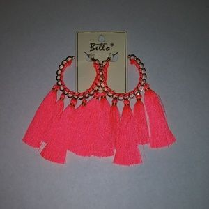 Neon pink gold chained tassel earrings